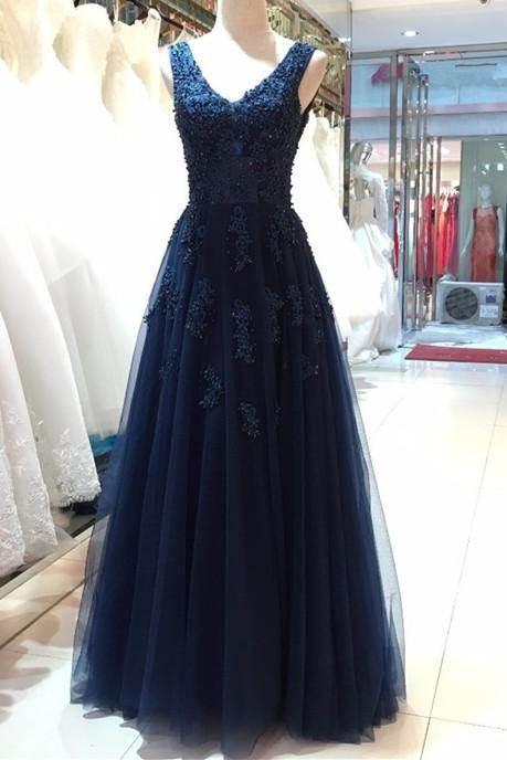 A line Navy Blue Tulle Long Prom Dress With Pearls Sexy Backless Lace Evening Prom Gowns Plus Size Pageant Party Gowns