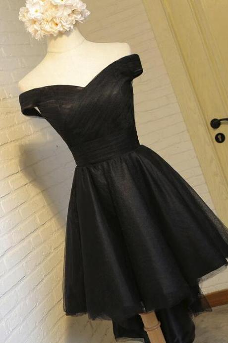 Off Shoulder High Low Prom Dress Black Homecoming Dresses Lace Up Women Party Gowns