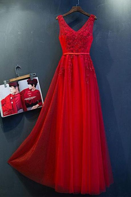 Newly Red Tulle Long Prom Dress, Sexy Backless Prom Dresses, Fashion Women Evening Sress, A Line Prom Dresses