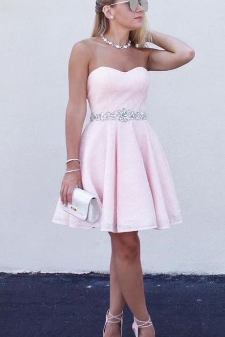 Sparkly Beaded Pink Homecoming Dress Short 2019 Junior Sweet 16 Prom Dresses Mini ,Fashion Short Cocktail Party Gowns