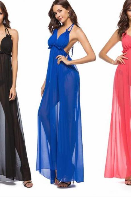 Sexy Backless Women Dress A Line Bohemian Women Skirts . Long Women Gowns ,Royal Blue Formal Dress