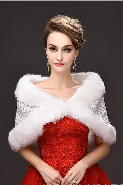 Vintage Ivory Warm Winter Wedding Jackets Faur Fur Short Coats For Wedding ,Cheap Bridal Shawel Wrap For Bridal