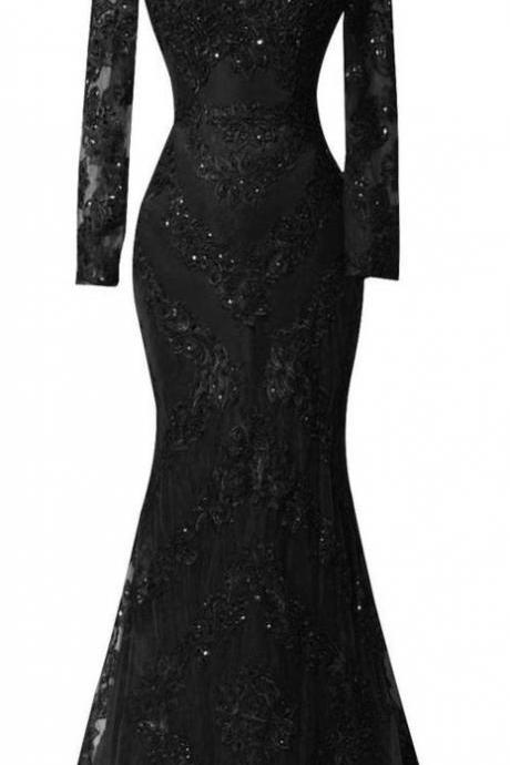 Vintage Black Lace Long Sleeve Formal Evening Dress Mermaid Beaded O-Neck Women Prom Dresses Wedding Party Gowns