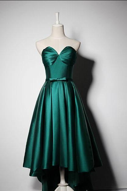 Vintage Dark Green Satin High Low Prom Dress Plus Size Sweet Homecoming Party Dresses