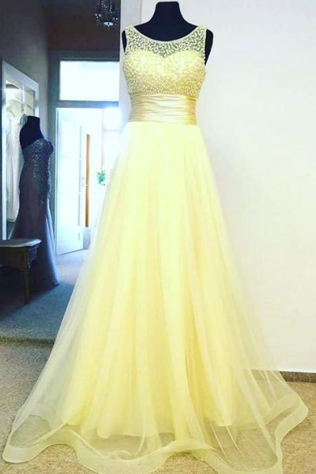 Yellow Beaded Scoop Long Prom Dress A Line Women Evening Dresses, A Line Formal Women Dress