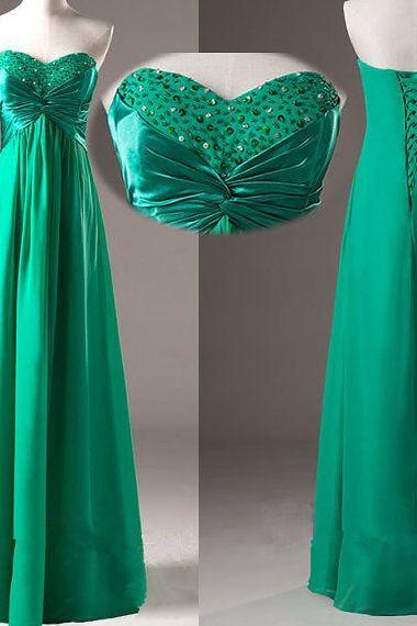 Cheap A Line Green Chiffon Beaded Long Bridesmaid Dress , Fashion Floor Length Maid Of Honor Gowns,Plus Size Bridesmaid Gowns