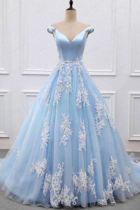 Vintage Sky Blue V-Neck Long Prom Dress Ball Gown Plus Size Pricess Quinceanera Dresses Off Shoulder Prom Gowns
