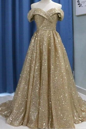Bling Gold Sequin Ball Gown Prom Dress Sweet 16 Long Prom Gowns Off Shoulder Arabic Dubai Evening Dress, Muslim Evening Gowns