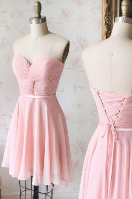 Off Shoulder A Line Pink Chiffon Pleated Short Bridesmaid Dress Sweet 16 Prom Gowns Wedding Fuest Gowns