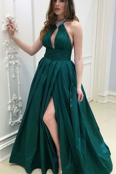 Sexy A Line Halter Beaded Floor Length Prom Dress Dark Green Satin Pleated Long Evening Prom Gowns , Off Shoulder Prom Gowns