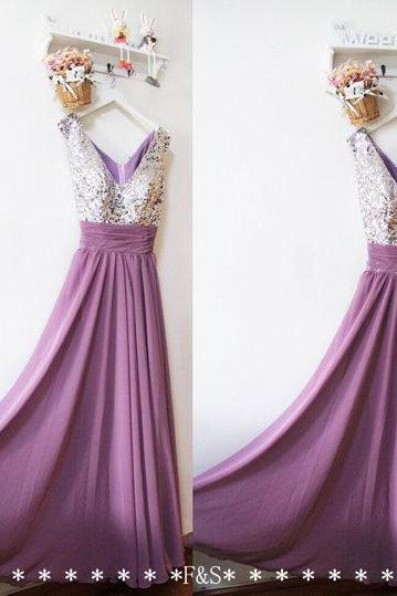 Cheap Purple Chiffon A Line Bridesmaid Dress Silver Sequin Women Party Gowns , Sexy Maid of Honor Gowns