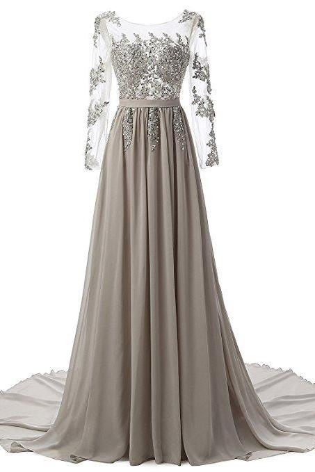Sexy Backless Long Sleeve Lace Evening Dress Gray Chiffon Long Prom Dress A Line Women Party Gowns