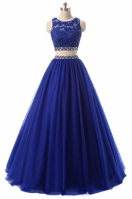 Stunning Royal Blue Two Pieces Lace Prom Dress A Line Beaded Long Prom Gowns ,Sexy Women Evening Dresses