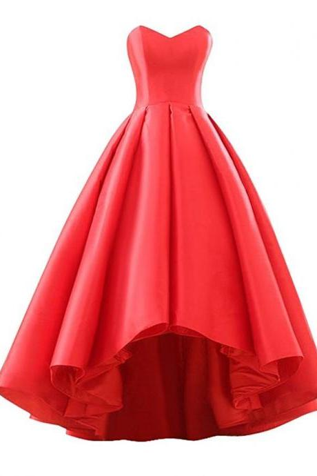 Off The Shoulder Women High Low Prom Dress, Cheap Satin Prom Dresses, Long Prom Gowns , Women Party Gowns