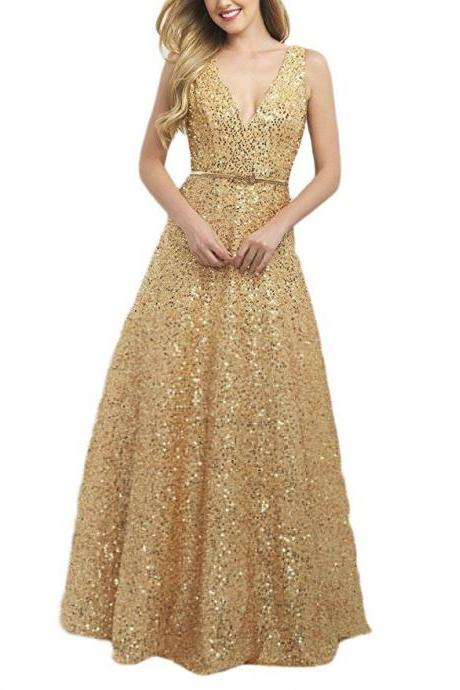 Gold Sequin V-Neck Long Prom Dress Sexy Back Open Formal Evening Party Gowns , A Line Evening Party Gowns