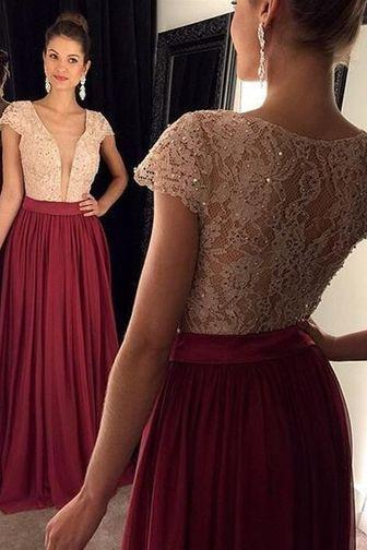 Women Top Lace Beaded Deep V-Neck Sheer Long Prom Dress With Caped Sleeve Burgundy Chiffon Prom Gowns