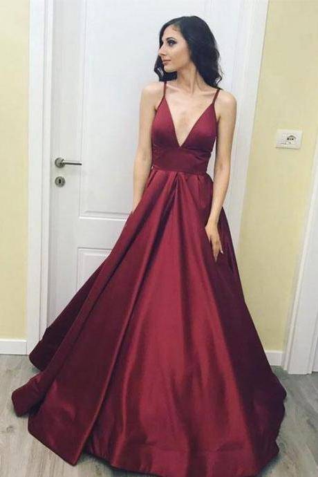 Cheap Burgundy Satin V-Neck Long Prom Dress Sexy Back Open Evening Dress ,Cheap A Lin e Prom Gowns