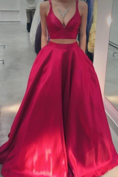 Two Pieces Red Satin Prom Dress Floor Length Women Evening Dress Custom Made Prom Gowns ,2019 A Line Prom Dresses