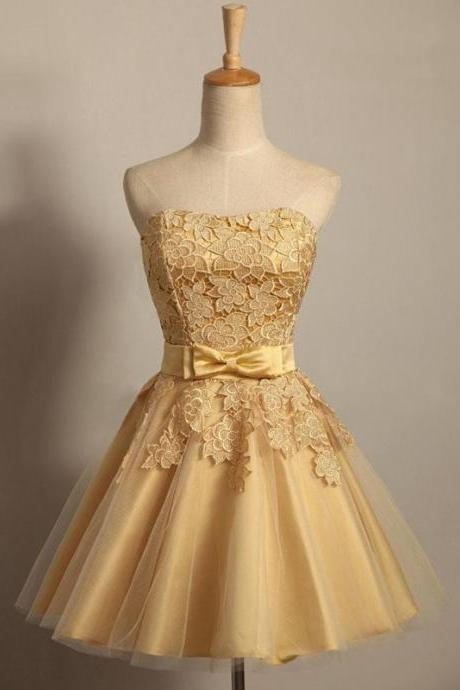 Cheap Gold Lace Prom Dress Short Mini Women Homecoming Dress Short ,Off Shoulder Prom Gowns Short