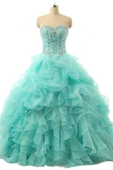 Elegant Green Beaded Organza Ball Gown Quinceanera Dresses 2019 Sweet 16 Prom Dress Cheap Pricess Prom Dress