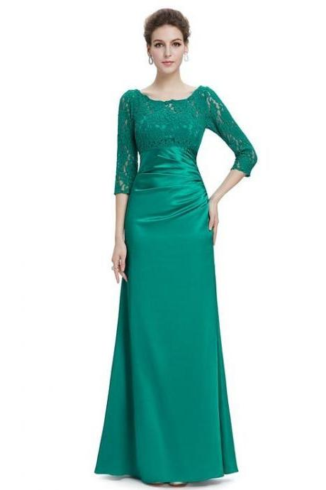 Plus Size Green Lace Long Sleeve Mermaid Mother Of the Bride Dress Fashion Women Dress, Long Mother Suits