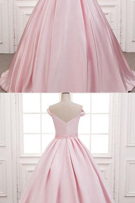 Cheap Light Pink Satin Long Prom Dress Ball Gown Women Evening Dress, Beaded Prom Gowns ,Plus Size Quinceanera Dresses