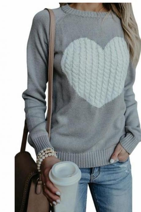 New Arrival Gray Women Winter Autumn Sweather With Print Heart Long Sleeve Sweater ,Loose Pullover Knit Sweater