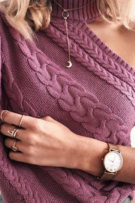 Women Autumn Sweather Long Sleeve Sweater Pullover Knit Sweater,Boycon Sweater ,Long Sleeve Sweater Knitted Winter Jumper,,Purple One Shoulder Long Sleeve Sweater