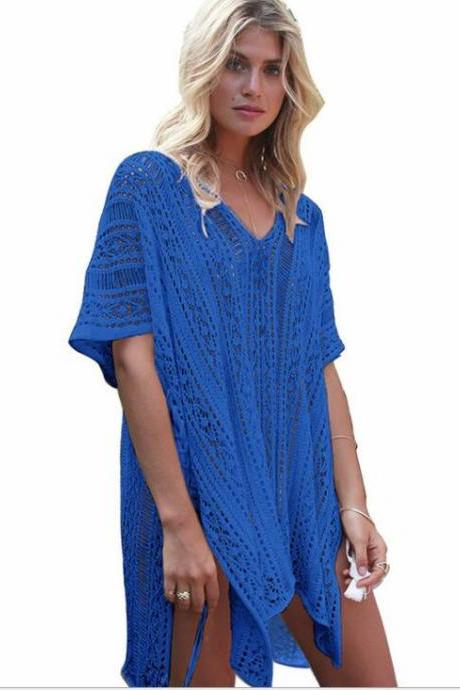 New Arrival Girls Beach Dress Cover Up Swimsuits , Swimwear White Lace Party Gowns , Summmer Swimsuits,Kigurumi Women Dress ,Blue Beach Dress
