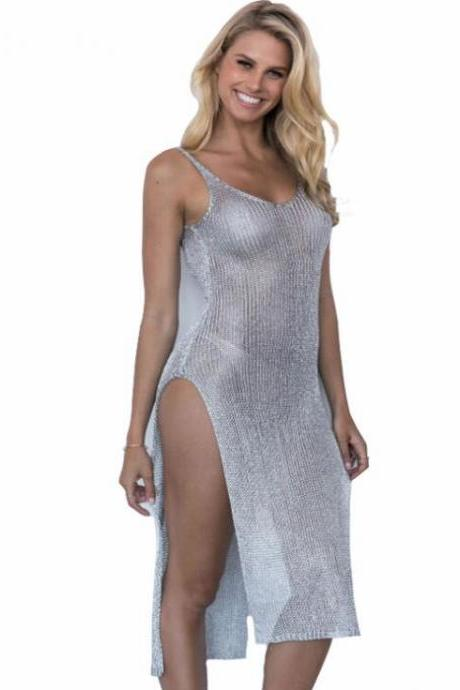 Shiny Swimsuits Silver Long Sunscreen Dress Backless Cheap Women Swimwear ,Cheap Beach Swimwear Dress