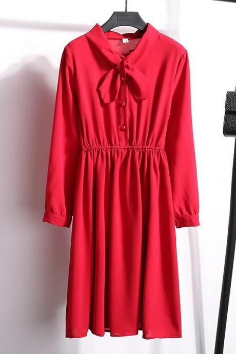 New Arrival Long Sleeve Women Summer Dress, Spring Dress, A Line Red Dress, Tea Length Party Gowns ,Female Dress