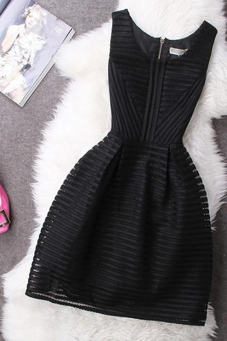 Women Dress, Black O-Neck Sheer Short Party Dress,Girls Gowns ,Off the shoulder Women dresses ,A Line Bandage dresses