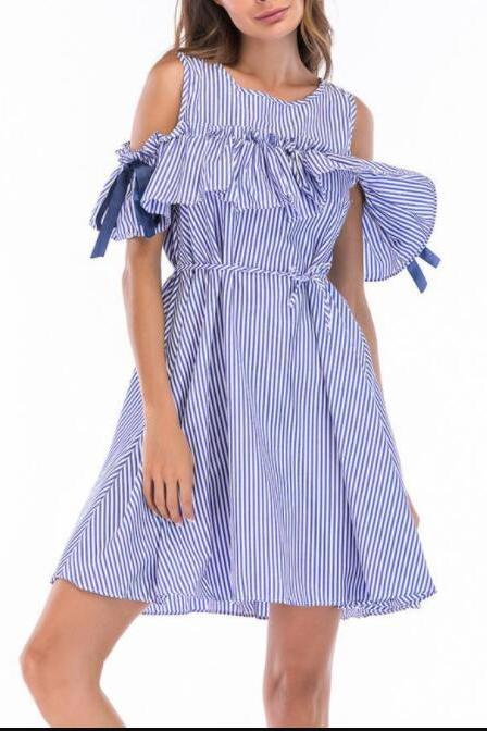 Off Shoulder Blue Stripes And Checks Women Short Dress, A Line Women Skirts .