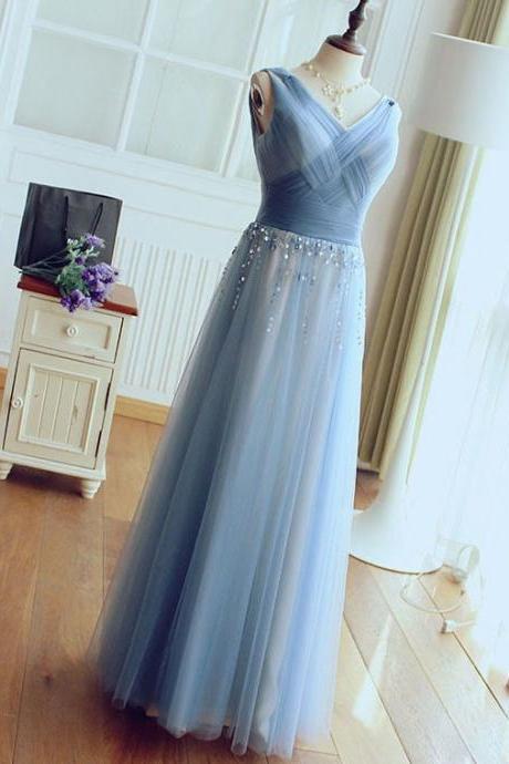 Sexy V-Neck Tulle Prom Dress, Light Blue Long Prom Dress, Sexy Beaded Women Dress, Formal Evening Dress
