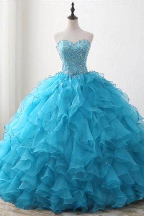 Off the shoulder blue beaded organza Quinceanera Dress, Sweet 16 Prom Dress, 15 Quinceanera dress, Ball Gowns Women Dresses, Pricess Quinceanera Gowns