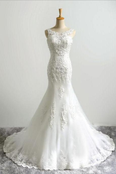 New Arrival Ivory Lace Appliqued Mermaid Wedding Dress Sexy Backless Women Wedding Gowns ,CHINA WEDDING Gowns