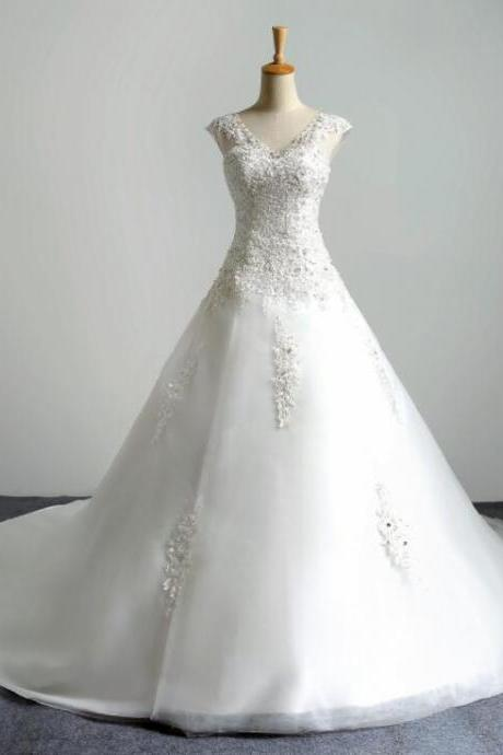 White Lace V-Neck China Wedidng Dress, Sexy A Line Wedding Dress, Custom Made Women Wedding Gowns , Bridal Gowns With High Quality