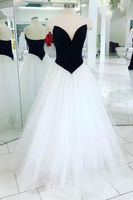 Simple Black Corset Long Prom Dress A Line White Tulle Formal Evening Party Gowns,Plus Size Bridesmaid Dress