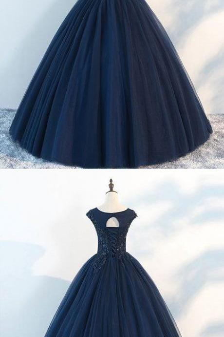 A Line Dark Blue Tulle Scoop Neck Long Prom Dress, Sexy Backless Formal Evening Gowns .Wedding Party Gowns