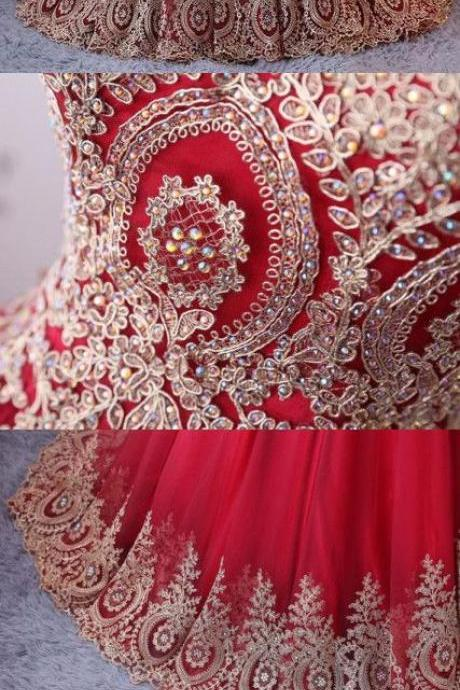 Prom Dress Red Tulle Gold Lace Appliqued Formal Evening Dress ,Custom Made Women Party Gowns