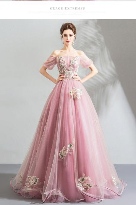 Cheap Off The Shoulder Light Pink Tulle Long Prom Dress A Line Embroidery Prom Gowns With Half Sleeve Formal Evening Party Dress