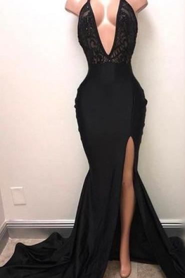 Sexy Black Deep V-Neck Long Prom Dress, Black Mermaid Prom Dress, Arabic Evening Dress,Plus Size Women Pageant Gowns