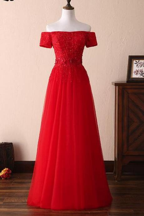 Off the Shoulder Red Lace Tulle Long Prom Dress A Line Ruched Formal Evening Gowns ,Custom Made Long Prom Gowns
