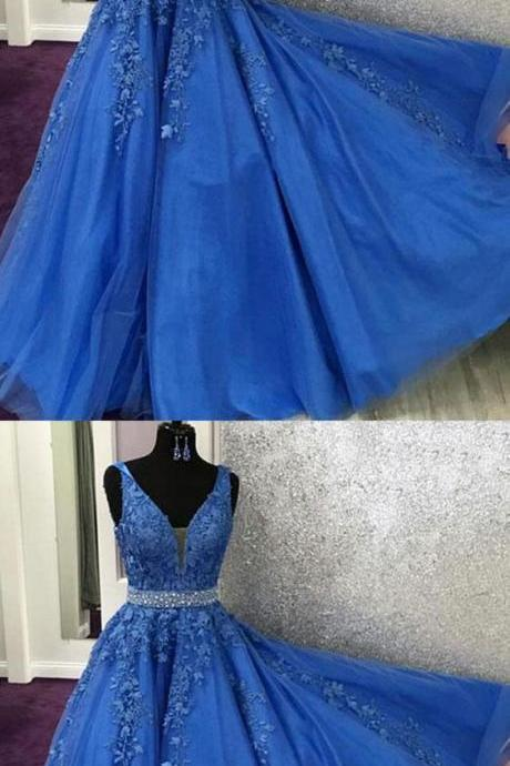 Fashion V-Neck Royal Blue Lace Appliqued Tulle Formal Prom Dress A Line Women Evening Party Gowns Plus Size Mother Dress