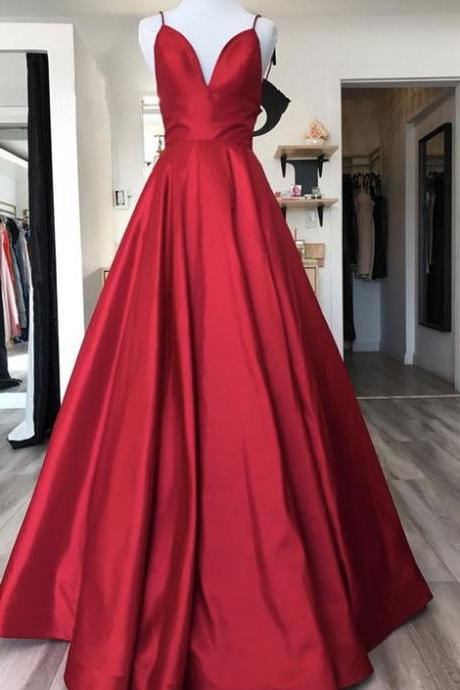 Fashion Red Satin Prom Dress, Spaghetti Strap Long Prom Party Gowns ,Women Wedding Party Gowns