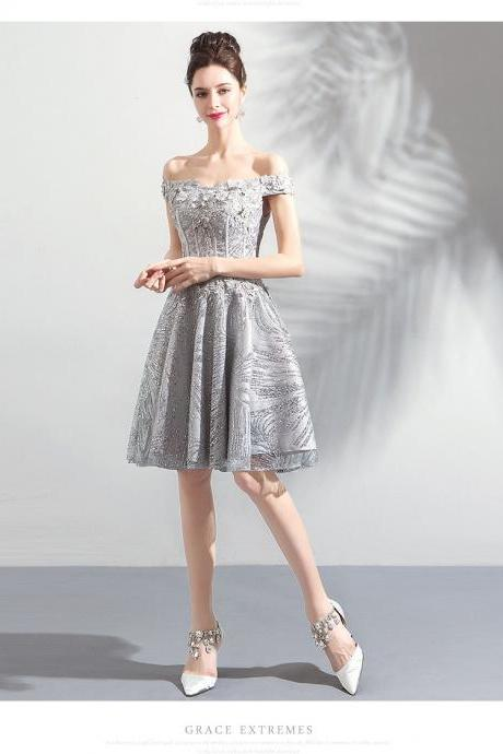 Sparkly Light Gray Sequin Short Bridesmaid Dress,Fashion Short Bridesmaid Gowns , Mini Homecoming Party Gowns