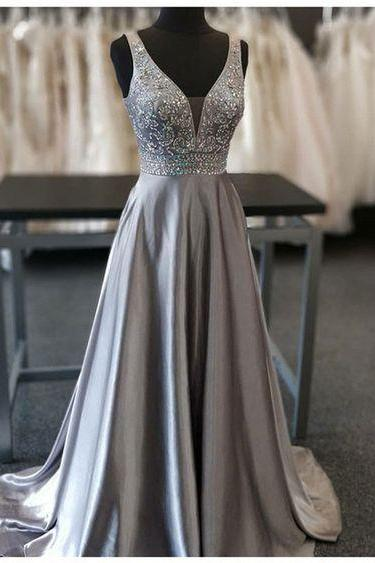 Sparkly Crystal Beaded Gray Satin Long Prom Dress A Linw Women Pageant Party Gowns ,Formal Prom Gowns
