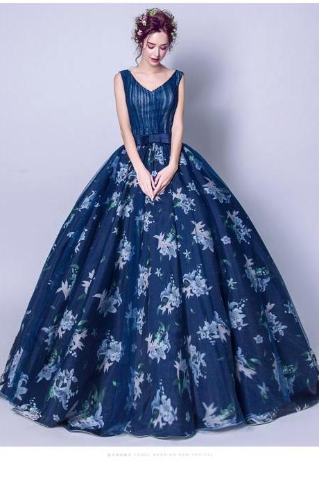 Sexy Ball Gown Quinceanera Dress Navy Blue Floral Lace Pricess Long Quinceanera Dress For 15 Years