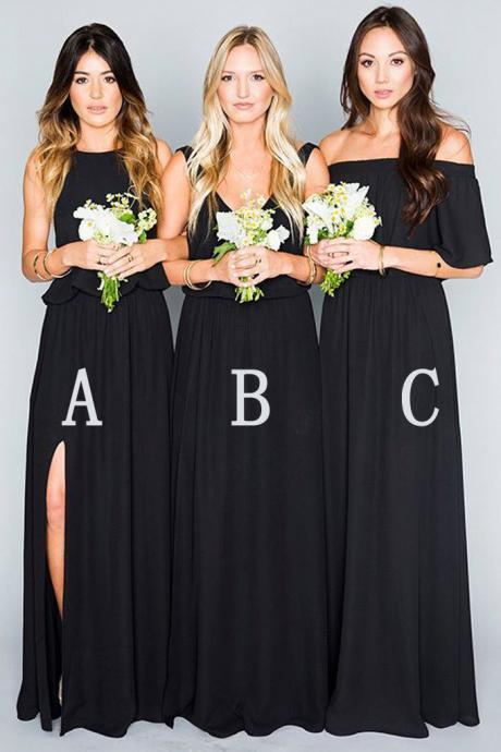 Sexy Elegant Black Spaghetti Strap Long Bridesmaid Dress Off Shoulder Prom Party Gowns Floor Length Bridesmaids Dresses