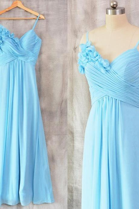 Cheap Sky Blue Chiffon Ruched Long Bridesmaid Dress, Cheap Maid Of Honor Gowns , Custom Made Women Party Gowns